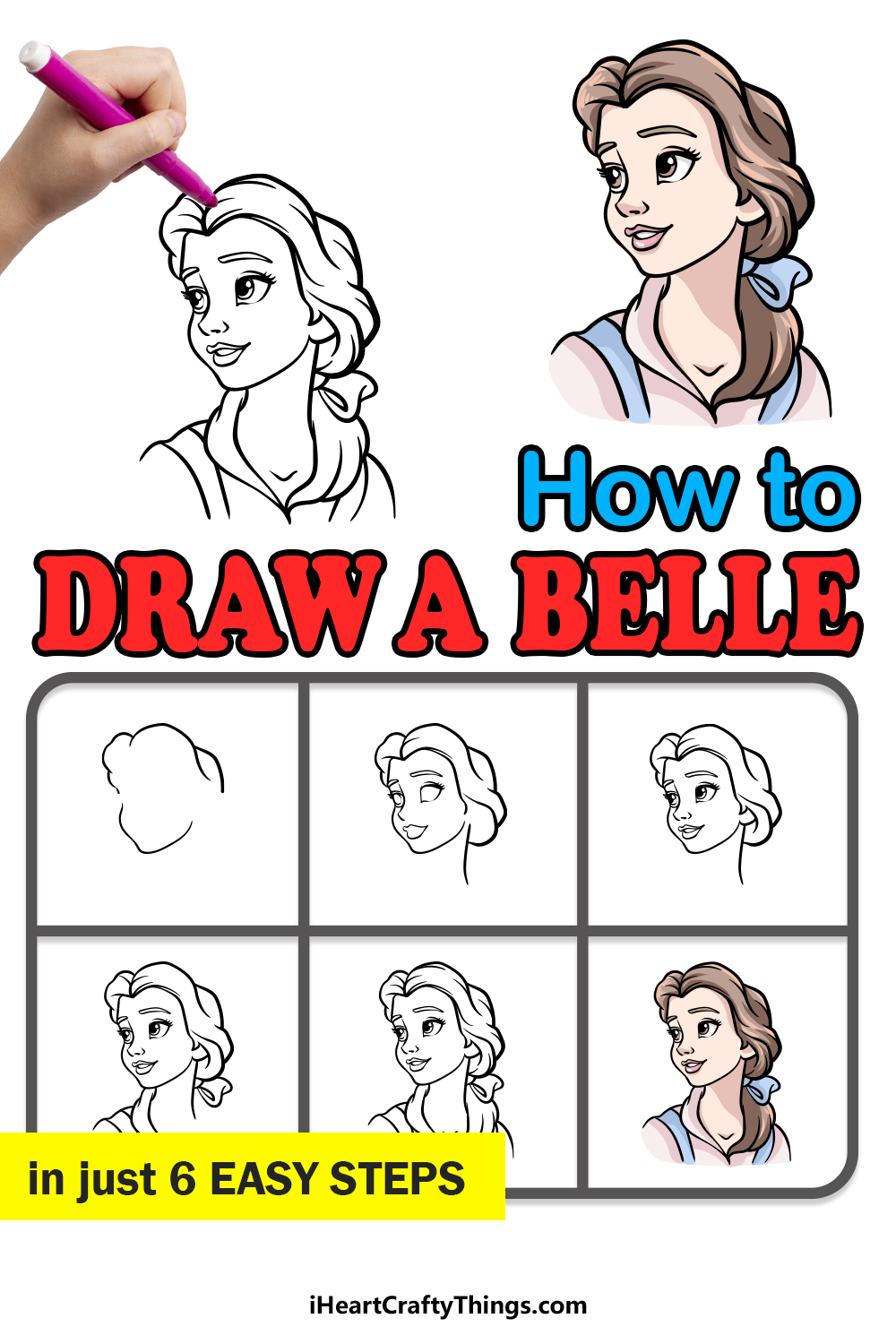 how to draw Belle in 6 easy steps