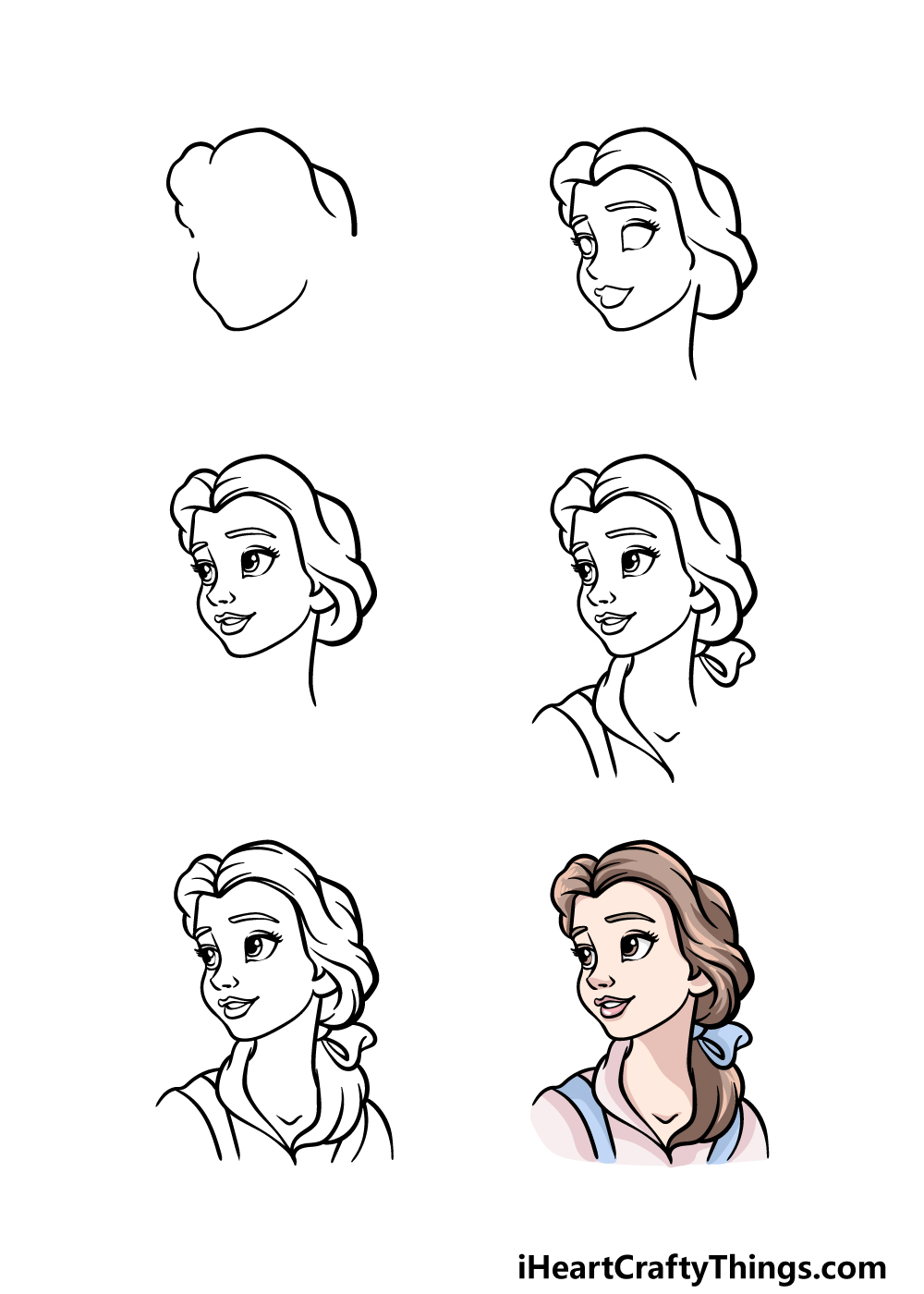 how to draw Belle in 6 steps