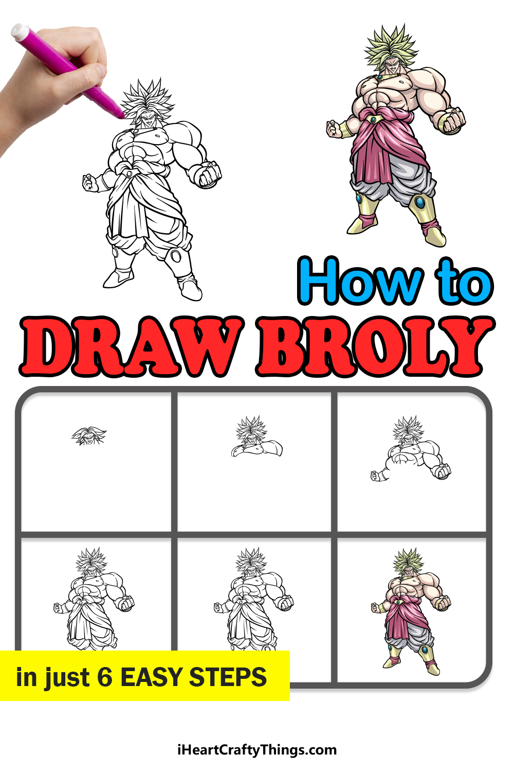 how to draw Broly in 6 easy steps