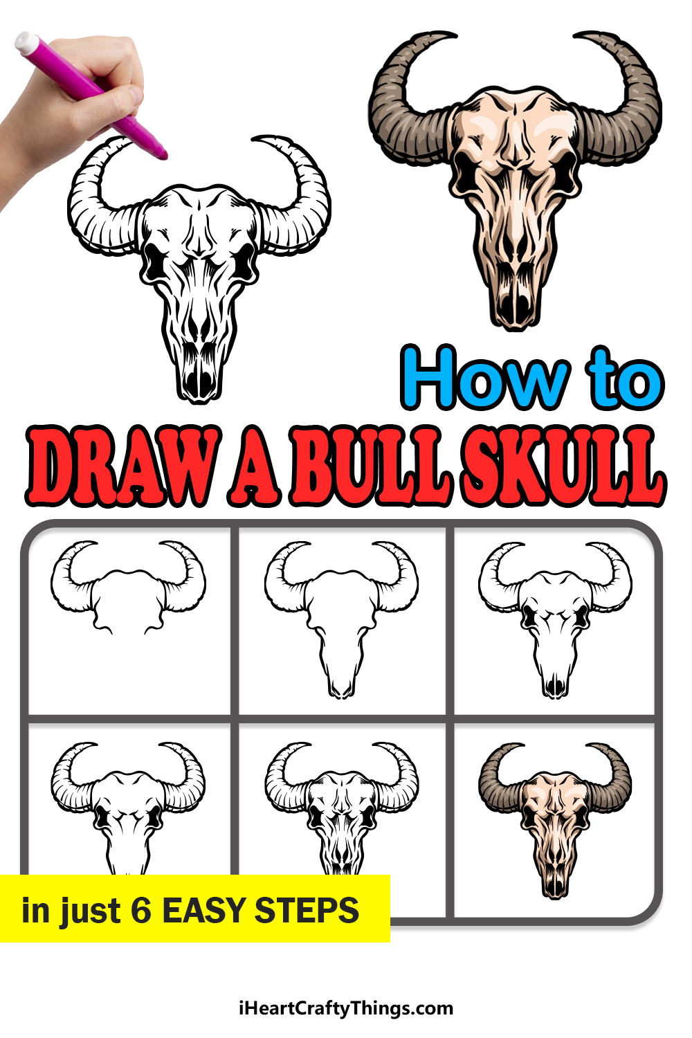 how to draw a bull skull in 6 easy steps
