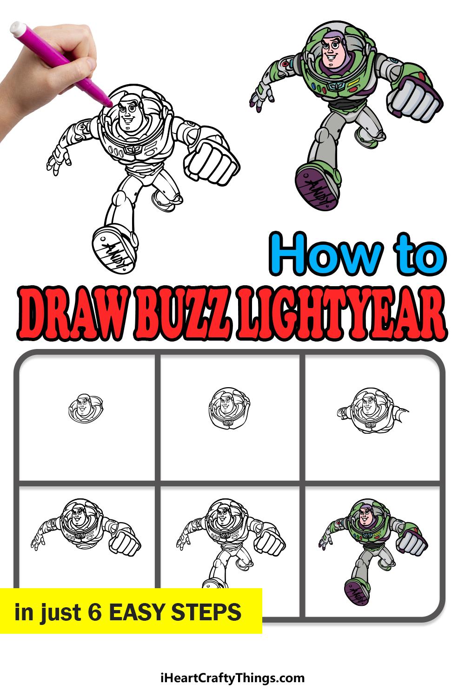 how to draw Buzz Lightyear in 6 easy steps