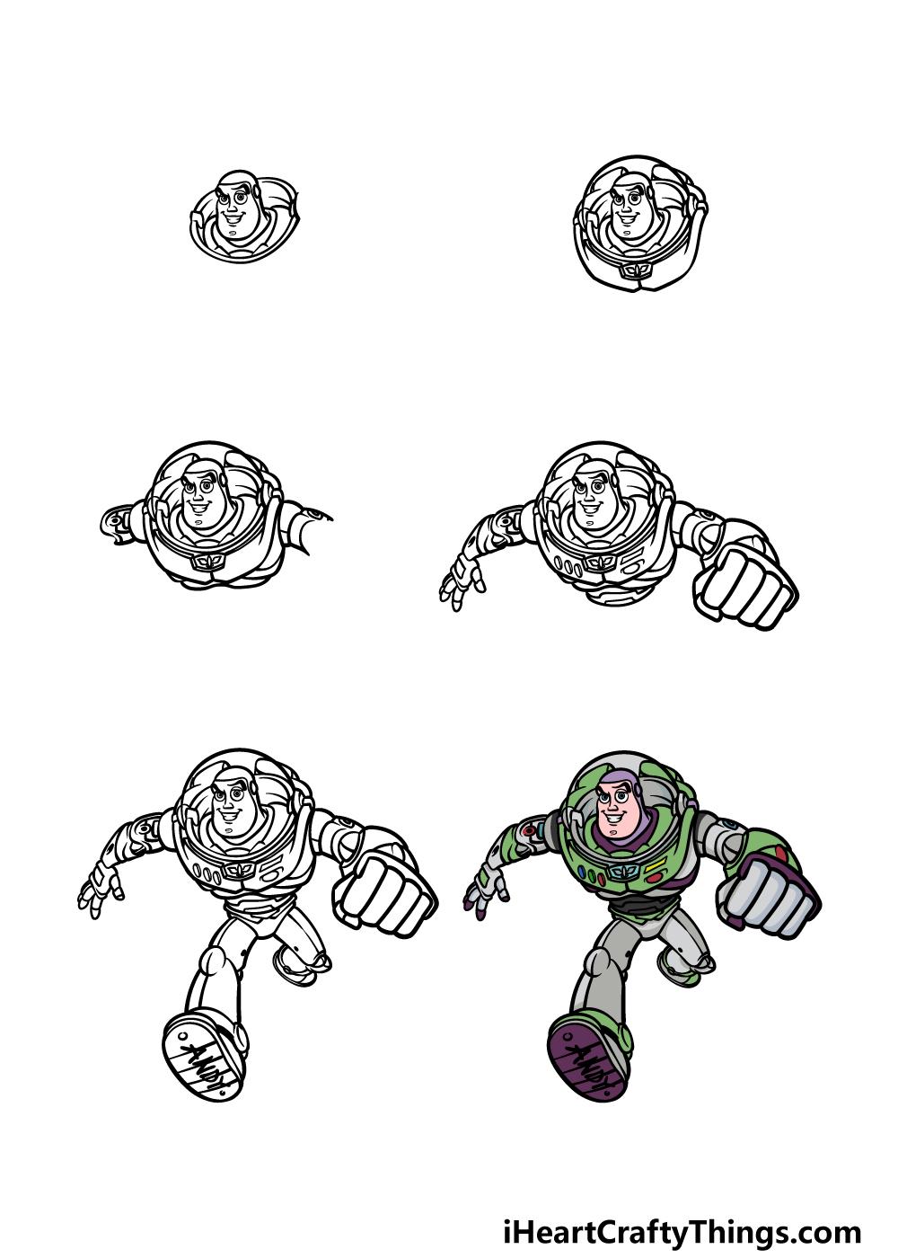 how to draw Buzz Lightyear in 6 steps