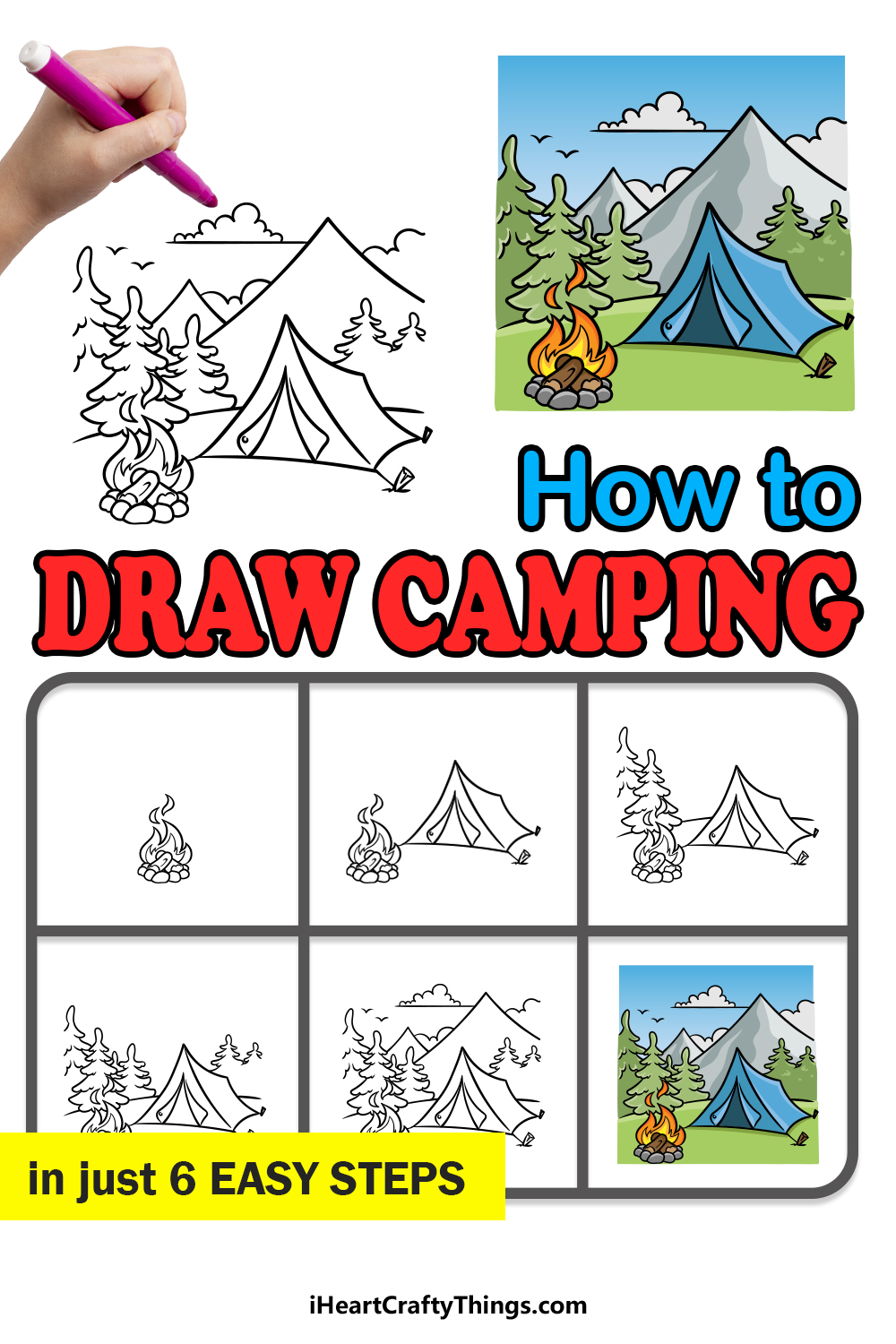 how to draw camping in 6 easy steps