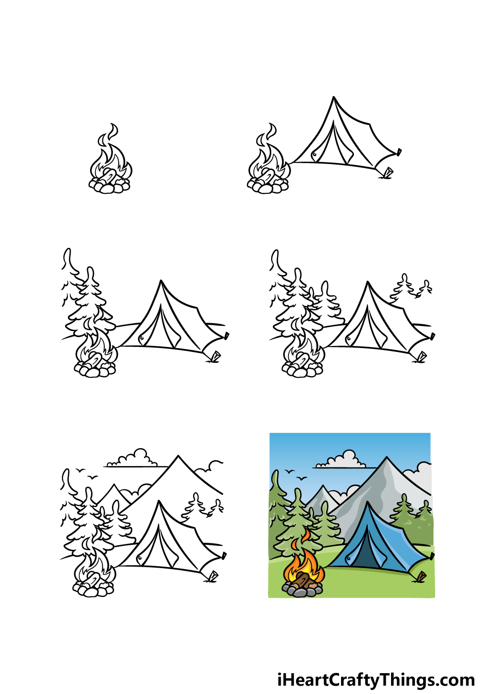 how to draw camping in 6 steps