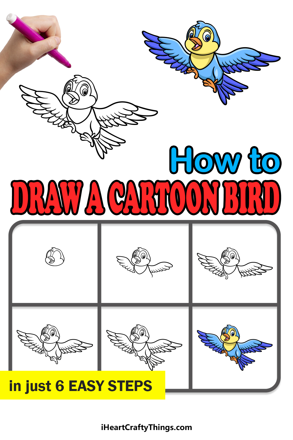 how to draw a cartoon bird in 6 easy steps