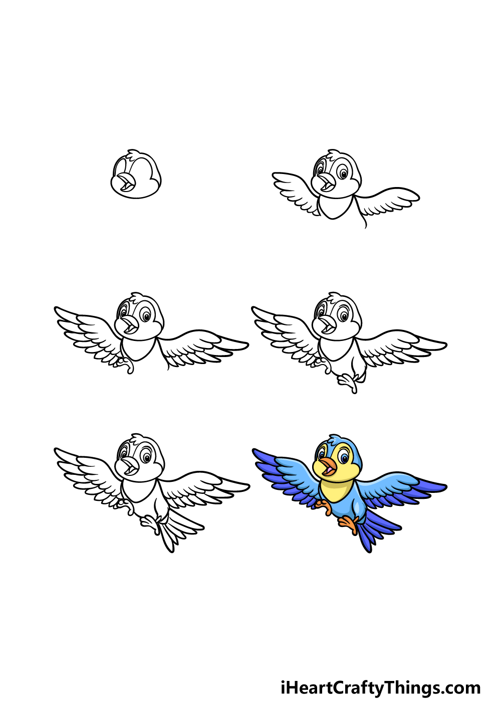 how to draw a cartoon bird in 6 steps