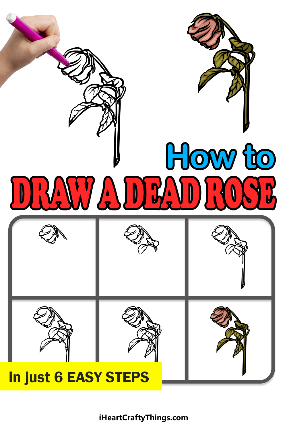 how to draw a dead rose in 6 easy steps