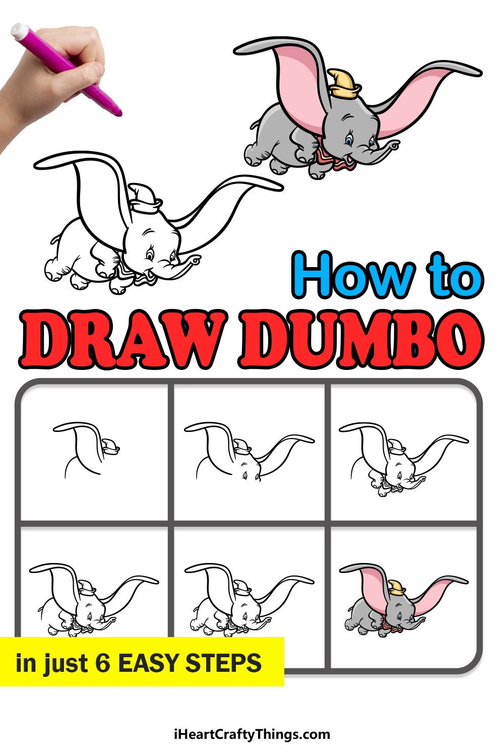 how to draw Dumbo in 6 easy steps