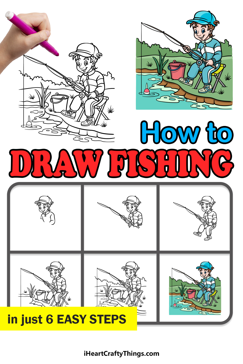 how to draw fishing in 6 easy steps