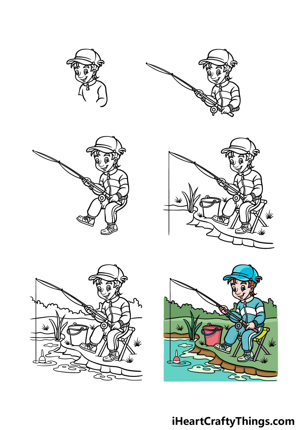 how to draw fishing in 6 steps