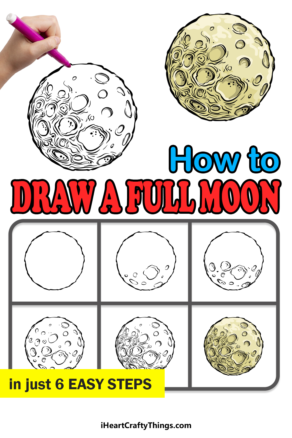how to draw a full moon in 6 easy steps