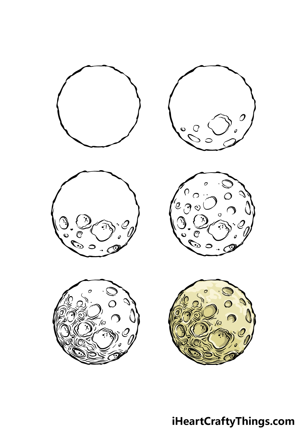how to draw a full moon in 6 steps