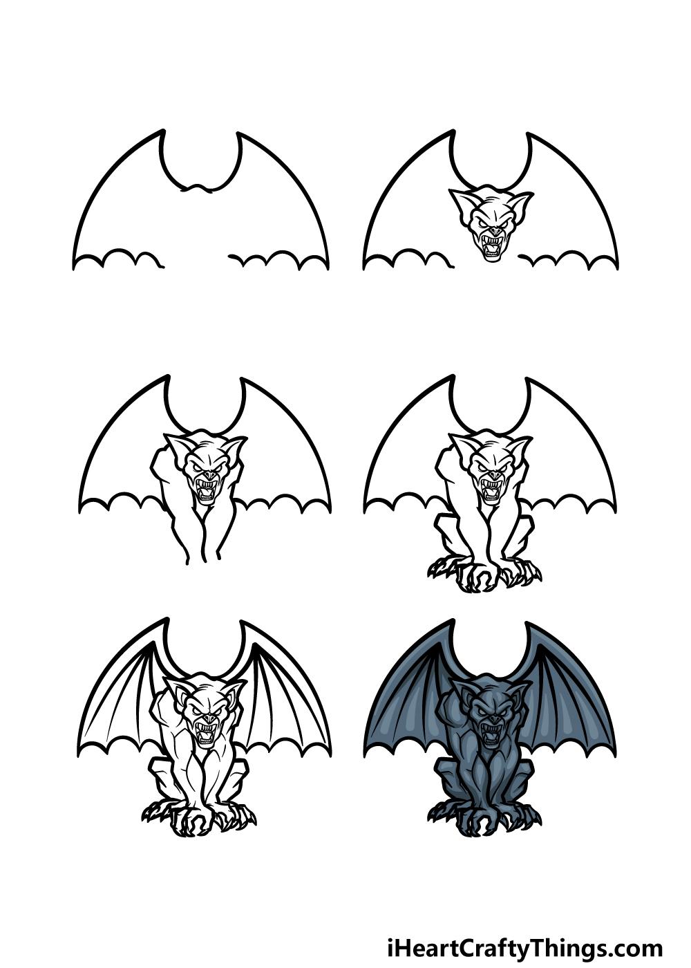 how to draw a Gargoyle in 6 steps