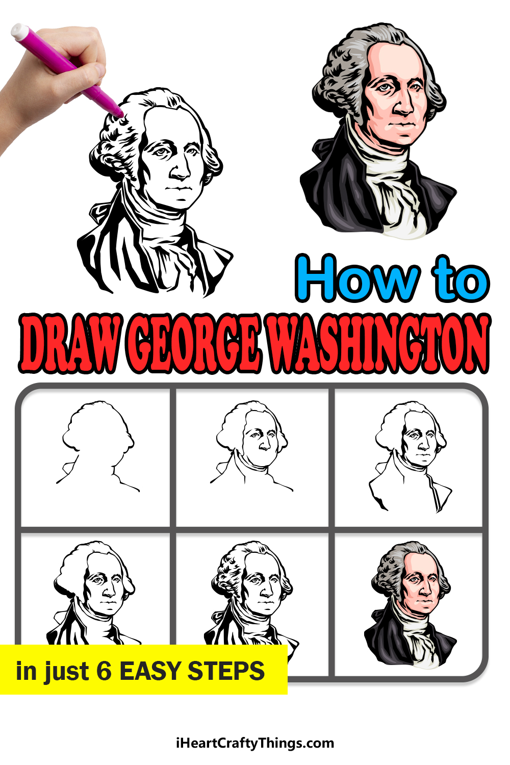 how to draw George Washington in 6 easy steps