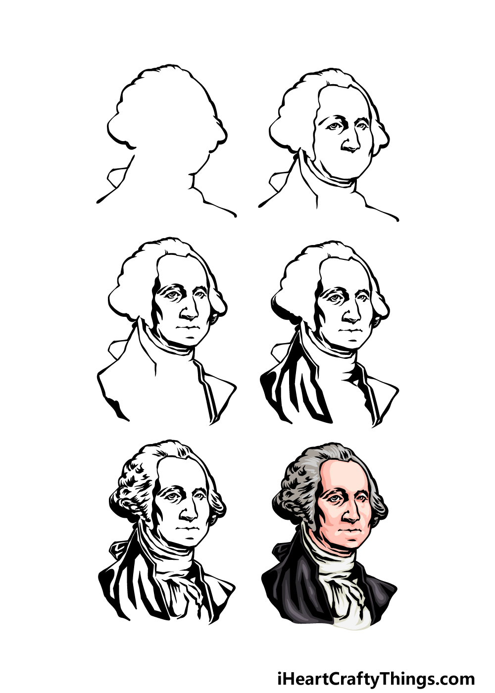 how to draw George Washington in 6 steps