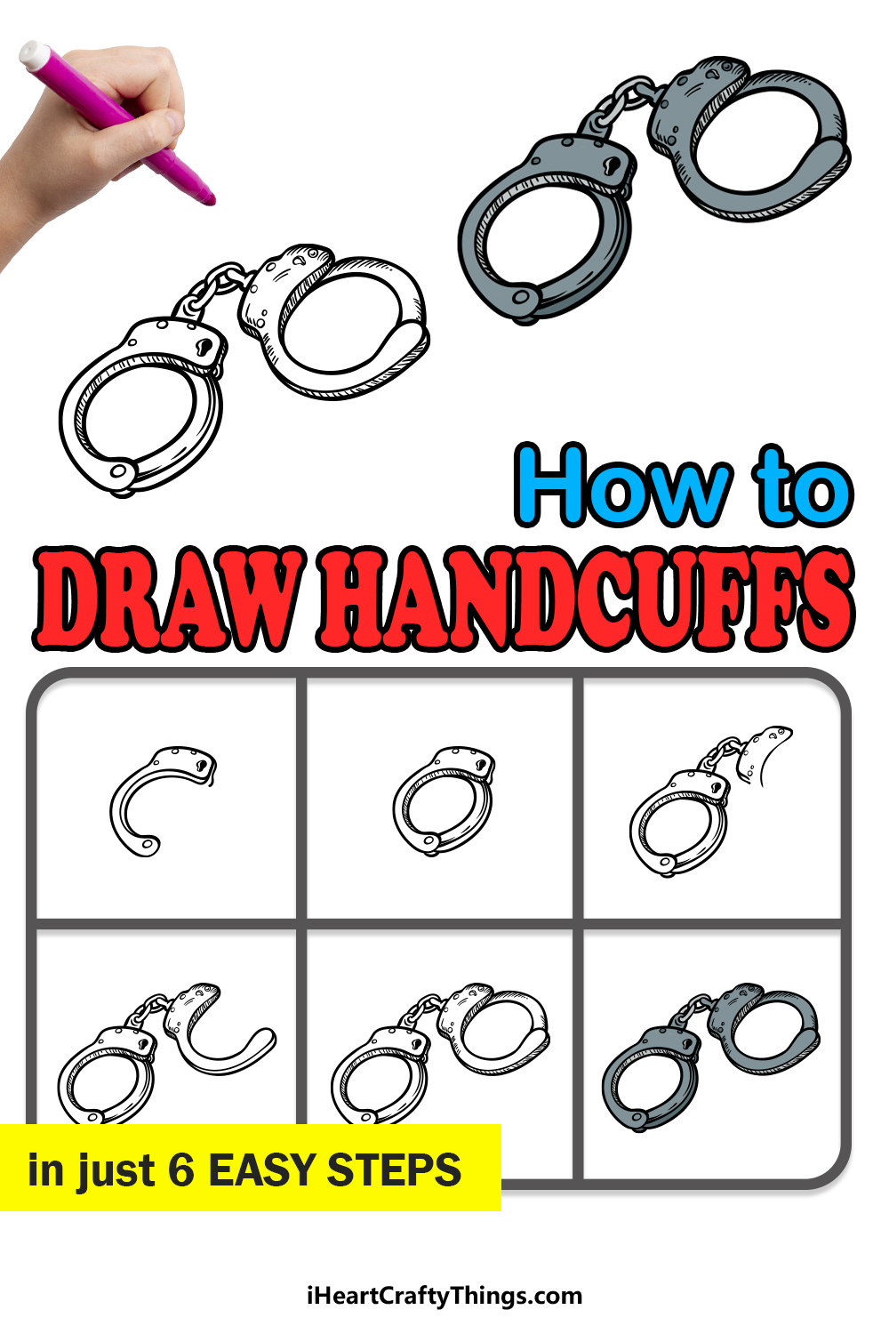 how to draw handcuffs in 6 easy steps