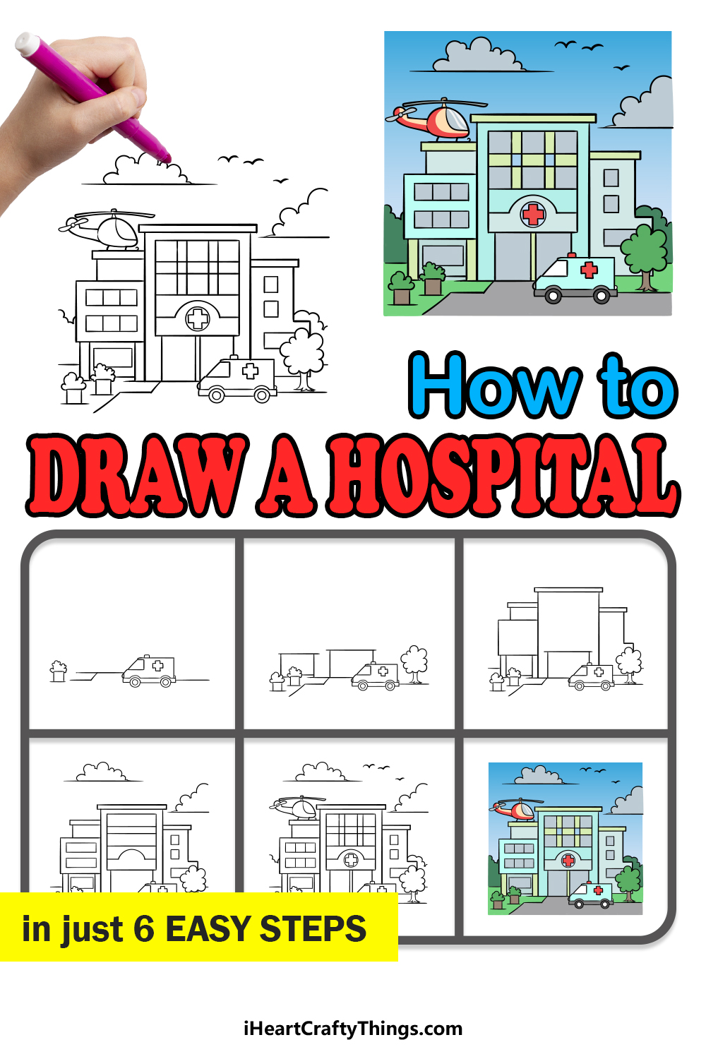 how to draw a hospital in 6 easy steps