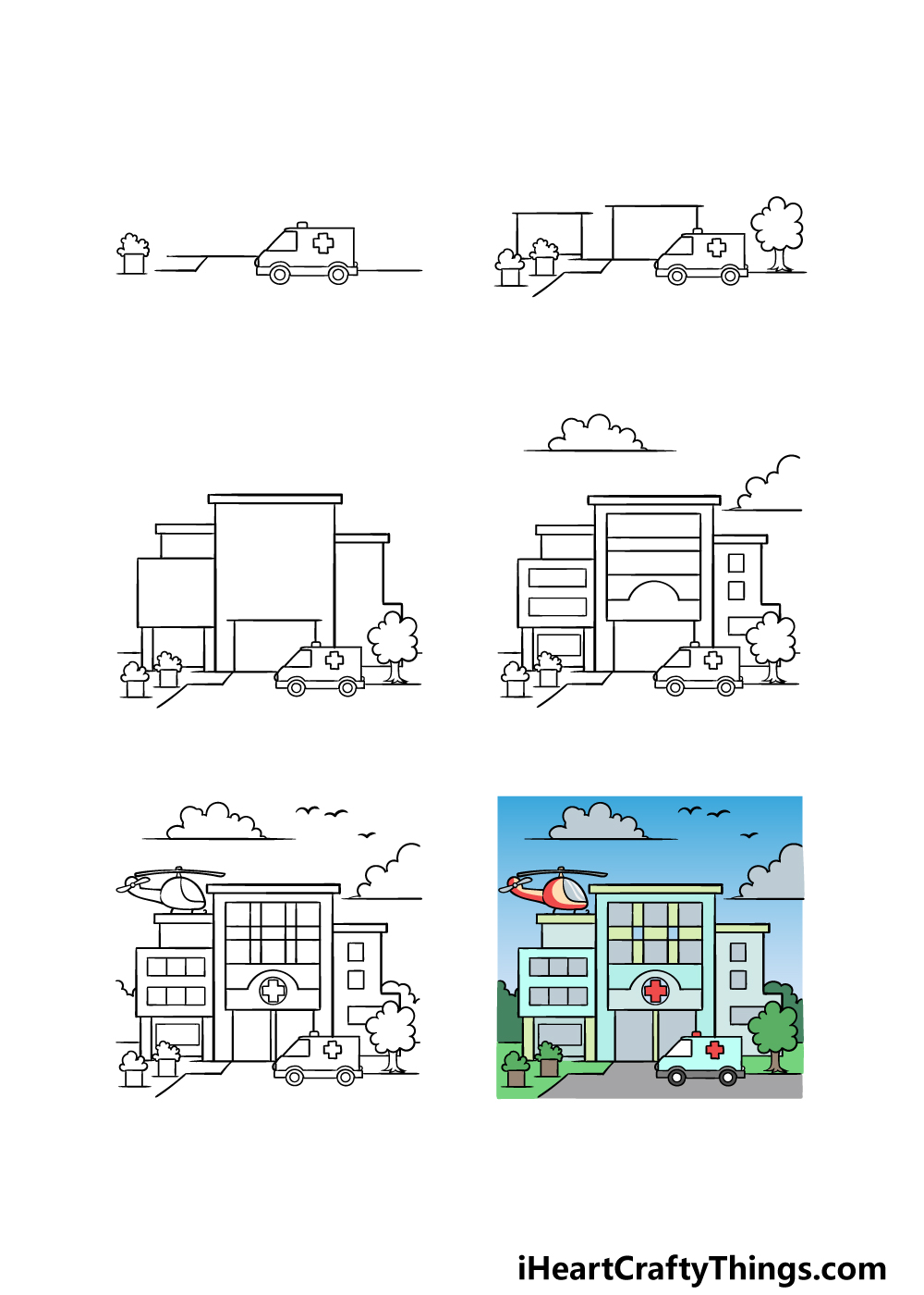 how to draw a hospital in 6 steps