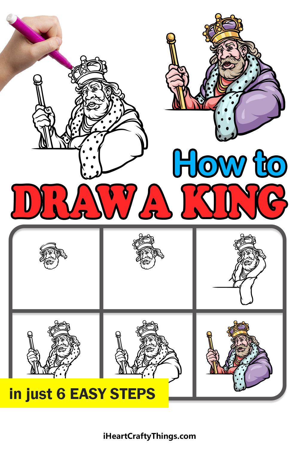 how to draw a King in 6 easy steps