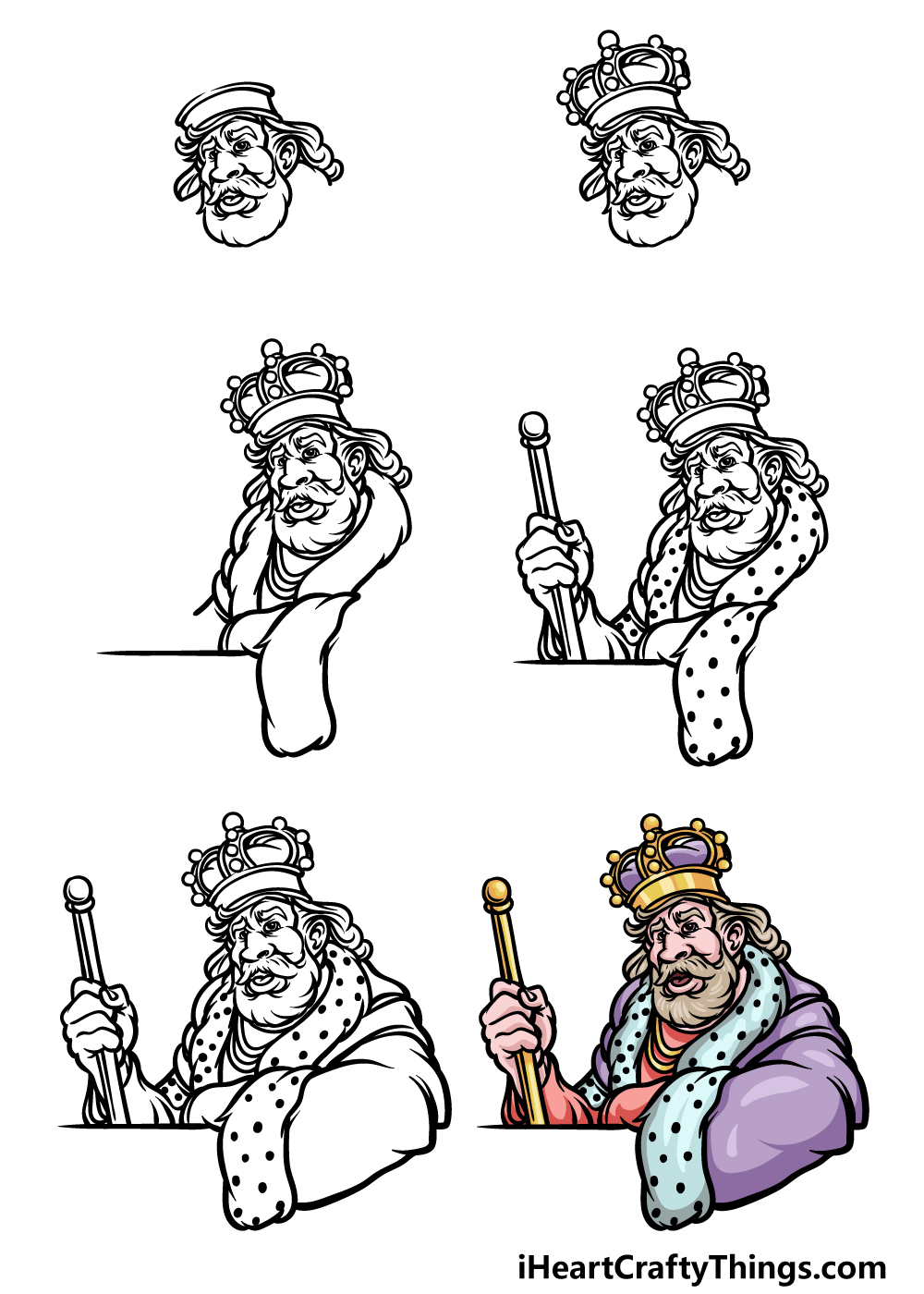 how to draw a King in 6 steps