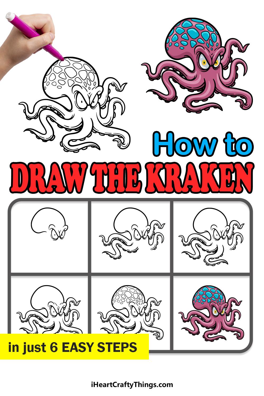 how to draw the kraken in 6 easy steps