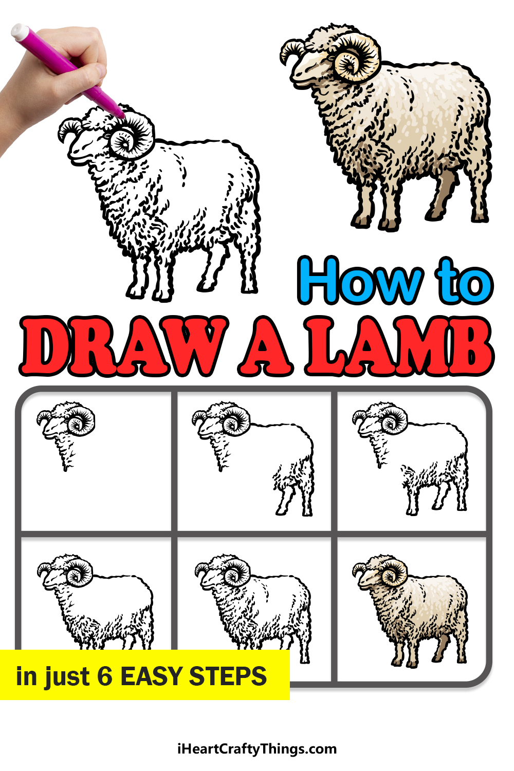 how to draw a ram in 6 easy steps