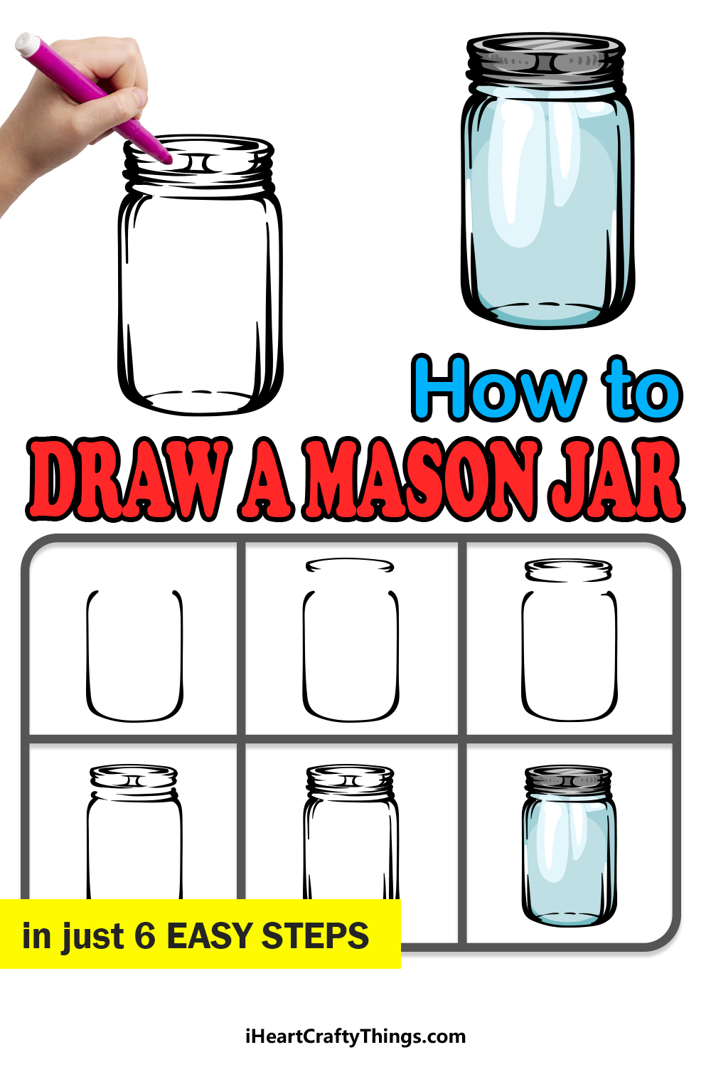 how to draw a mason jar in 6 easy steps