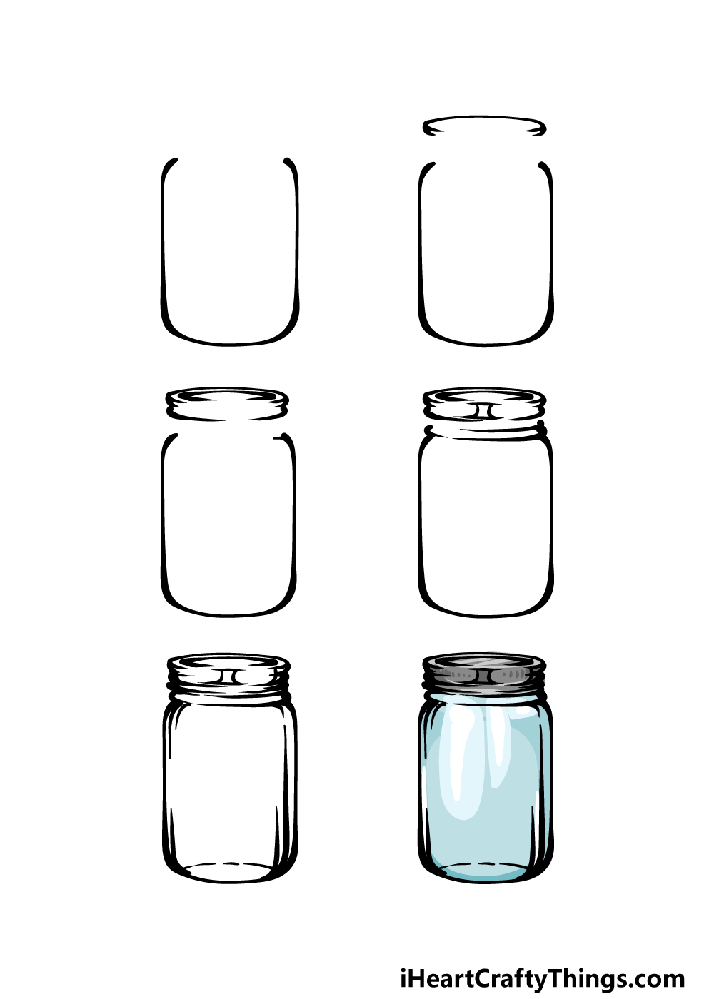 how to draw a mason jar in 6 steps
