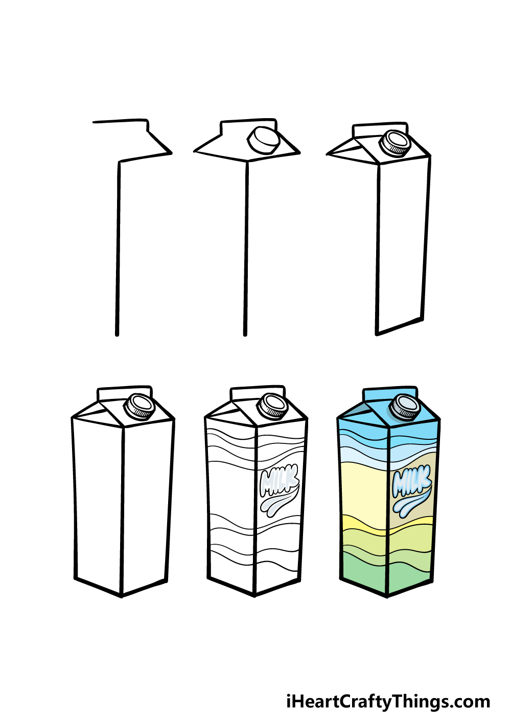how to draw a milk carton in 6 steps
