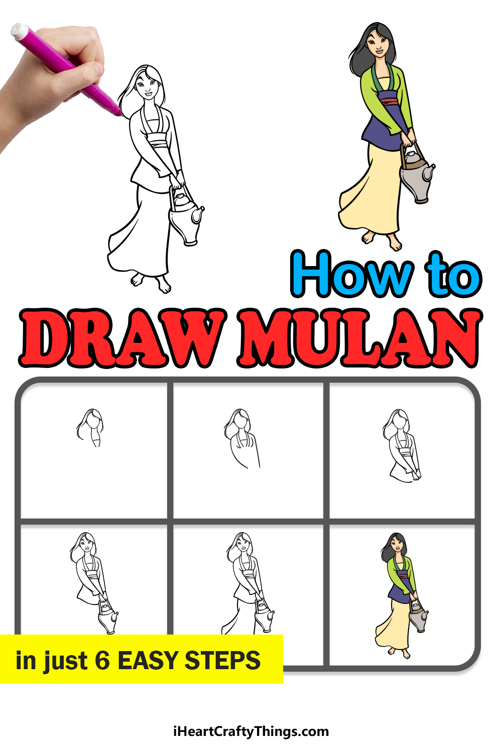how to draw Mulan in 6 easy steps