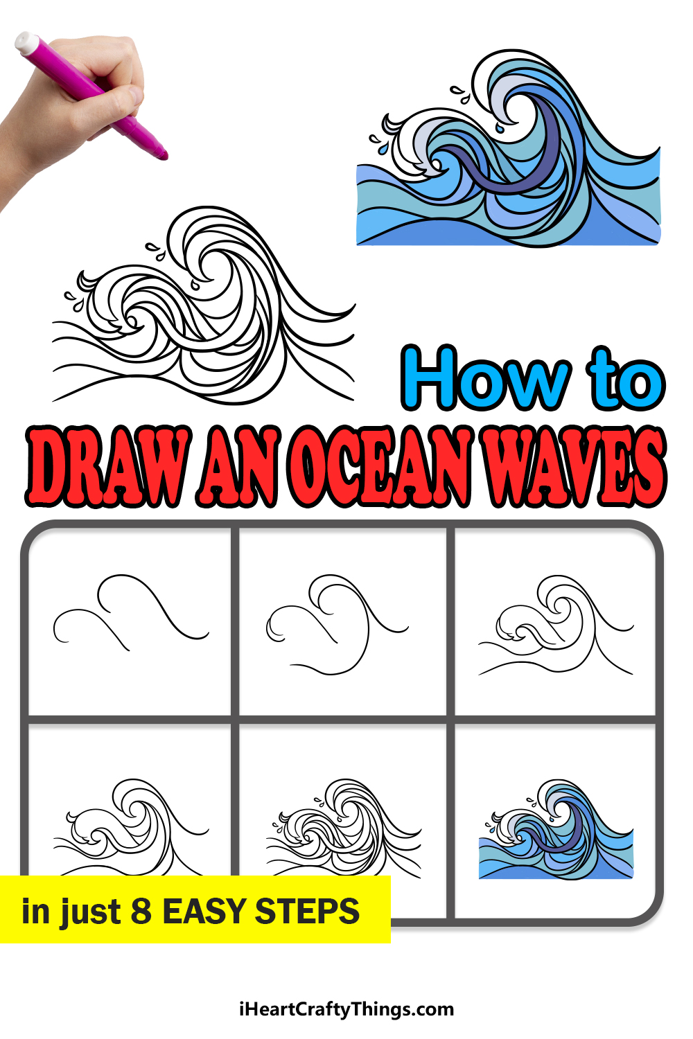 how to draw ocean waves in 8 easy steps