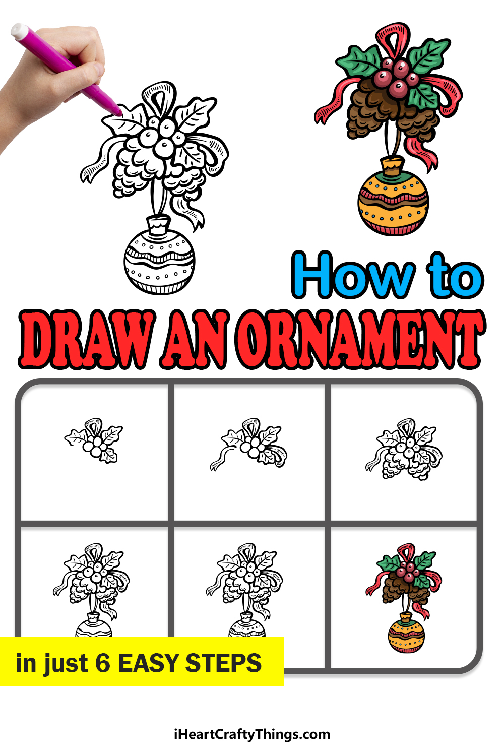how to draw an ornament in 6 easy steps