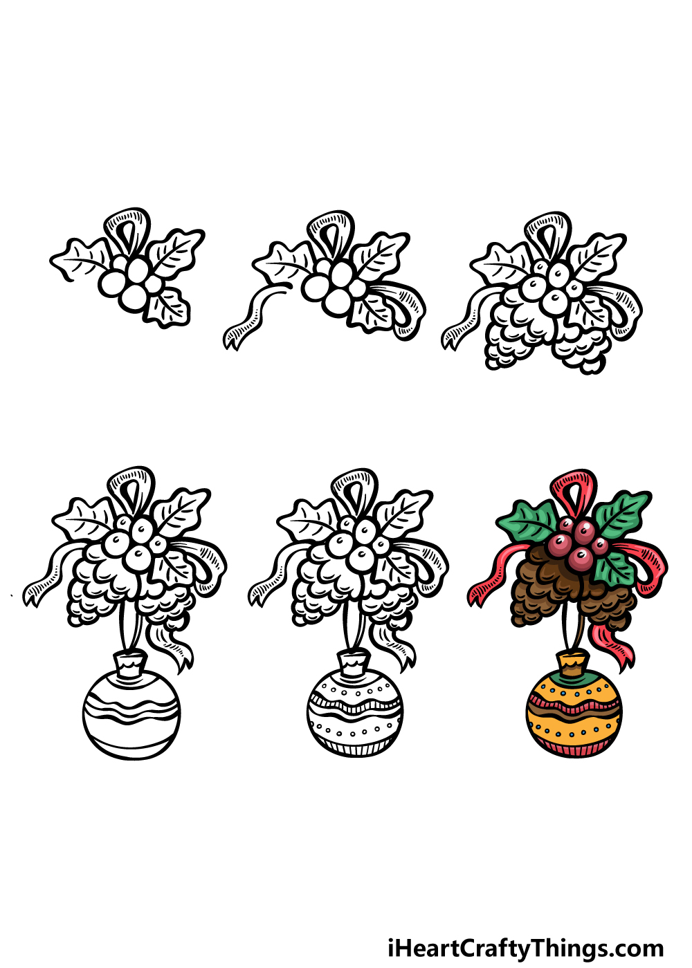 how to draw an ornament in 6 steps