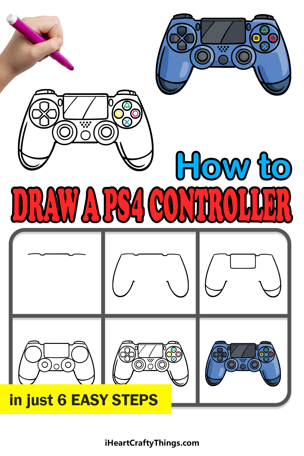 how to draw a PS4 controller in 6 easy steps