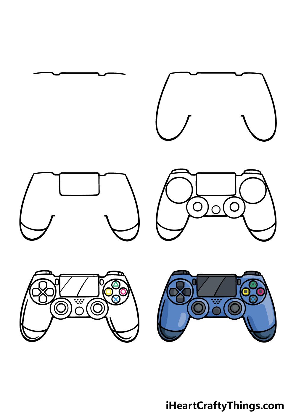 how to draw a PS4 controller in 6 steps