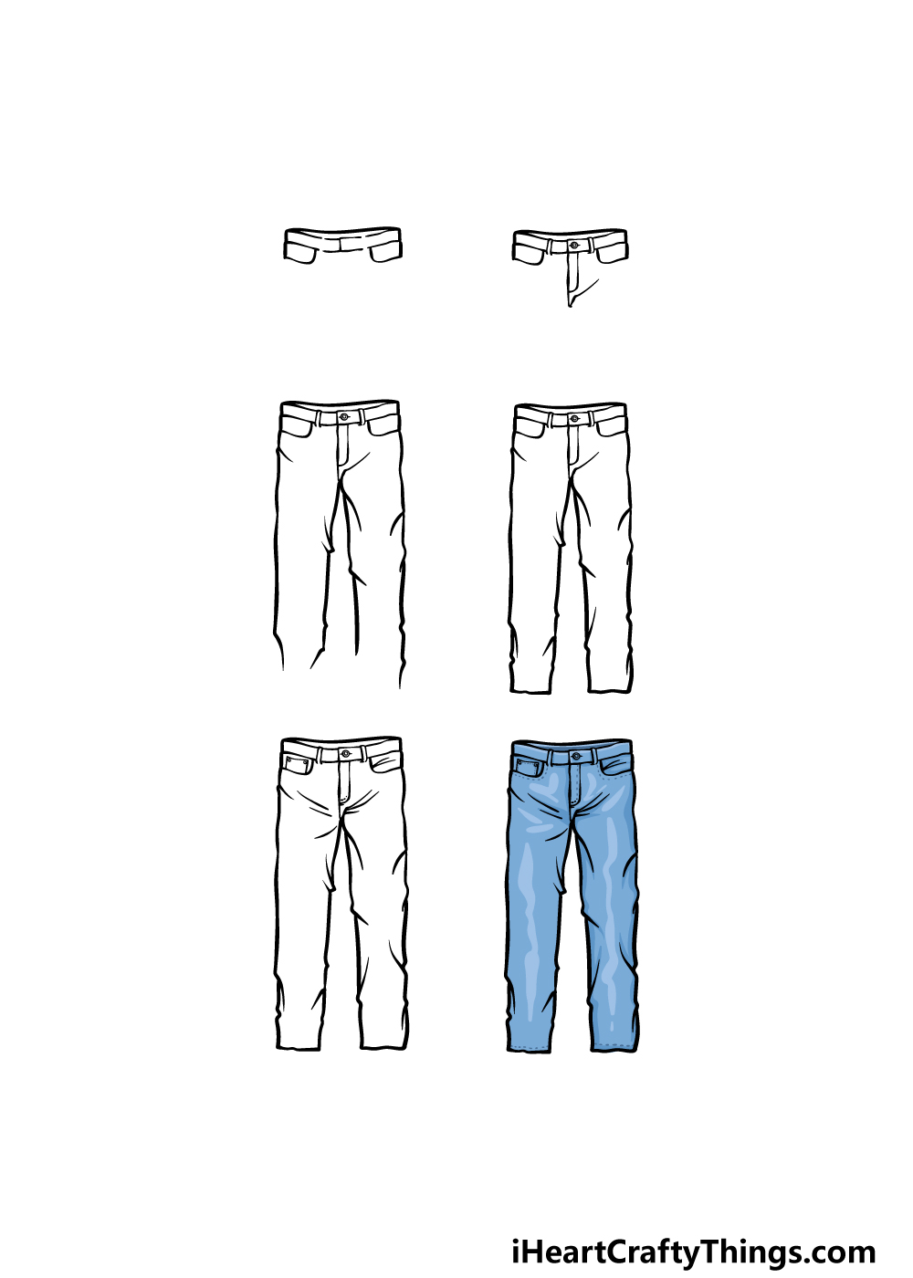 how to draw pants in 6 steps