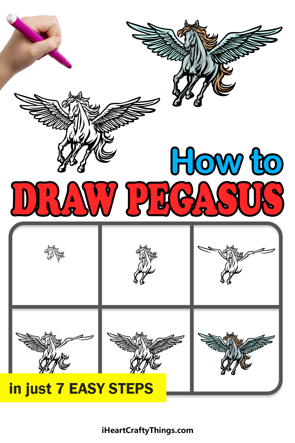 how to draw Pegasus in 7 easy steps