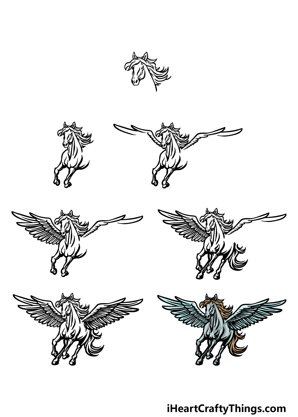 how to draw Pegasus in 7 steps