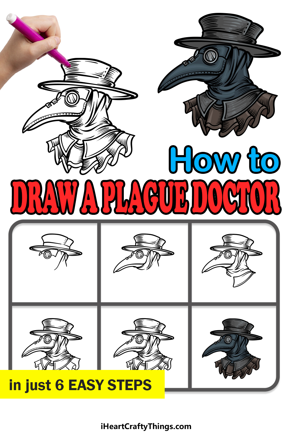 how to draw a plague doctor in 6 easy steps