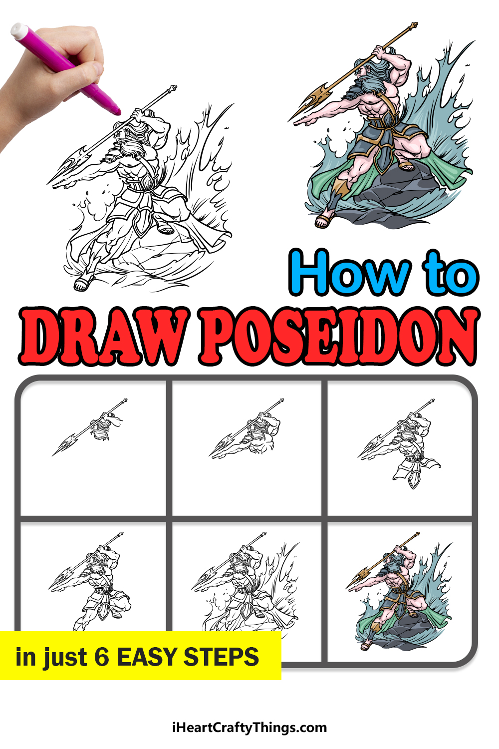 how to draw Poseidon in 6 easy steps