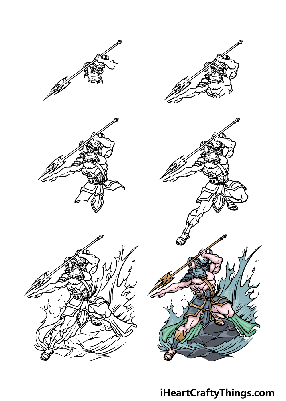 how to draw Poseidon in 6 steps