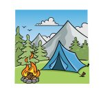 how to draw camping image
