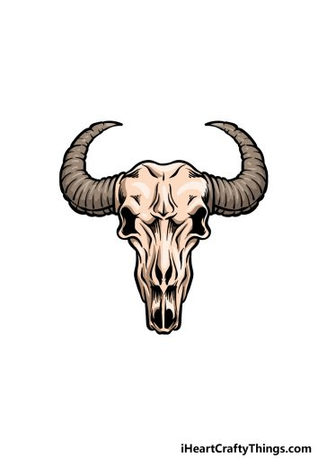 how to draw a bull skull image