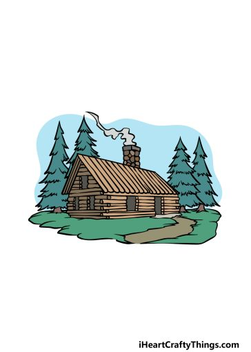 how to draw a cabin image
