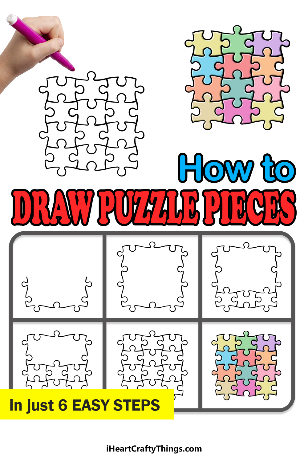 how to draw Puzzle Pieces in 6 easy steps
