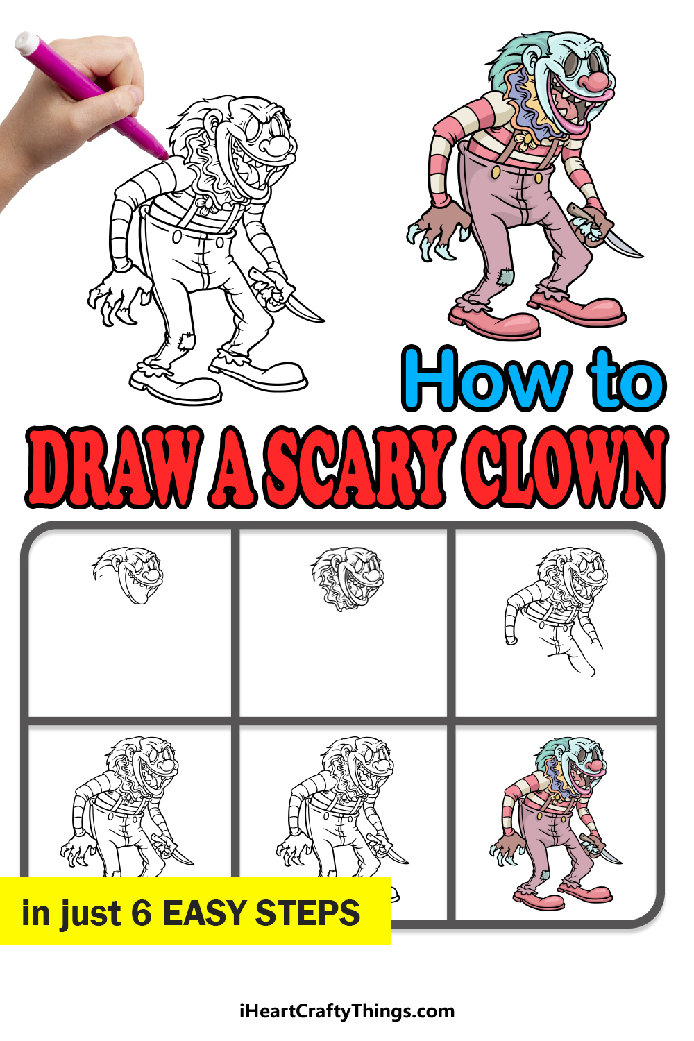 how to draw a scary clown in 6 easy steps