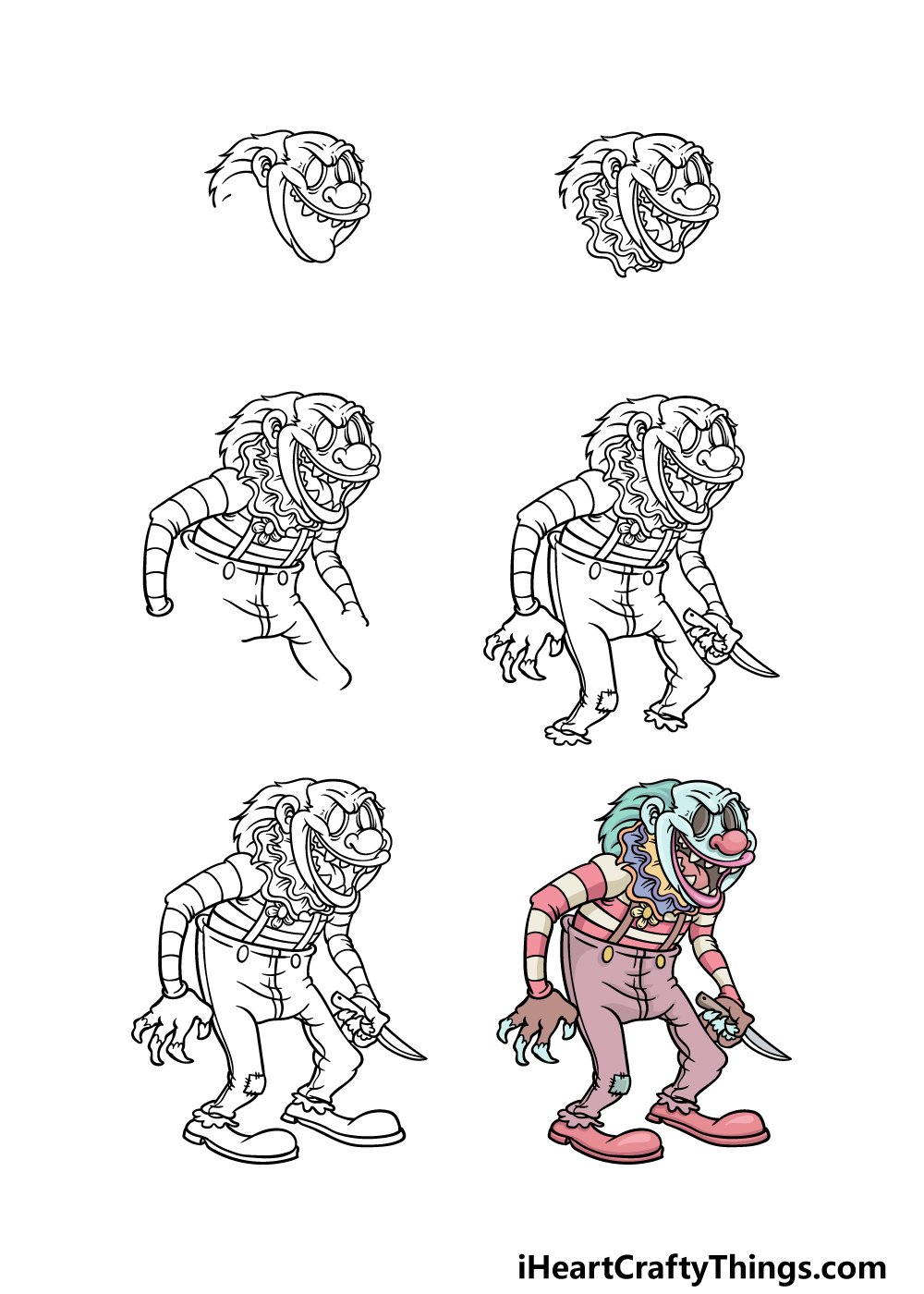 how to draw a scary clown in 6 steps