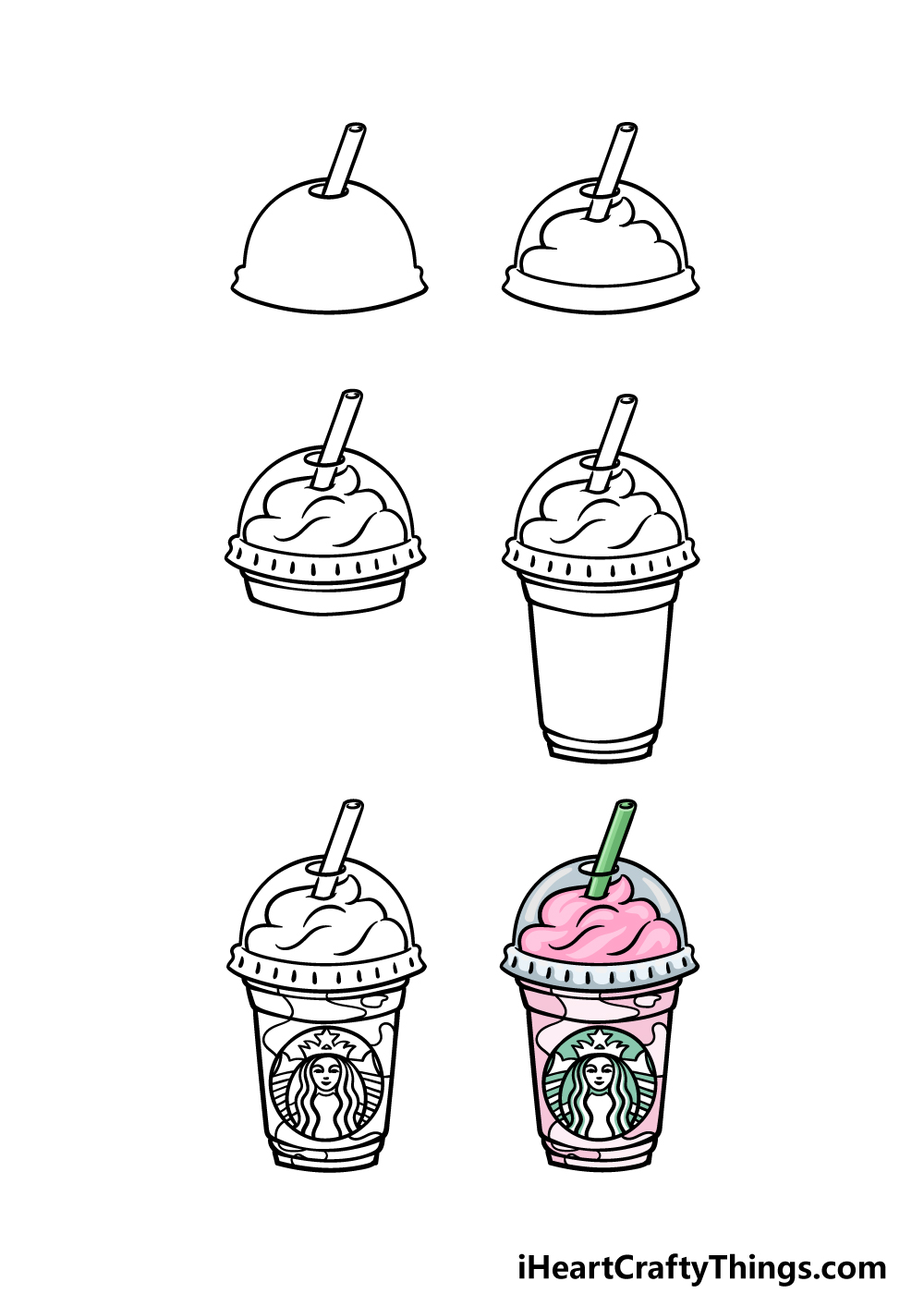how to draw Starbucks in 6 steps