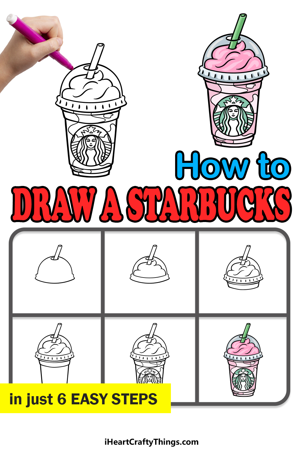 how to draw Starbucks in 6 easy steps