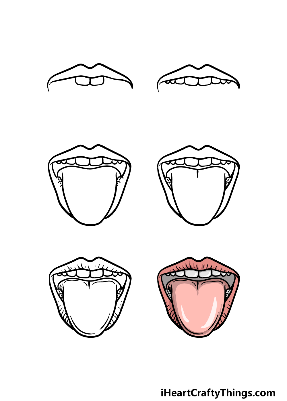 how to draw a tongue in 6 steps